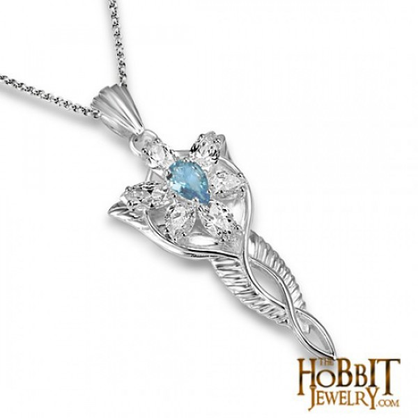 "Topaz Arwen Evenstar Necklace - Lord of the Rings Ring Jewellery - The Evenstar ...and she took a white gem like a star that lay upon her breast hanging upon a silver chain..."" The Evenstar Necklace was give"