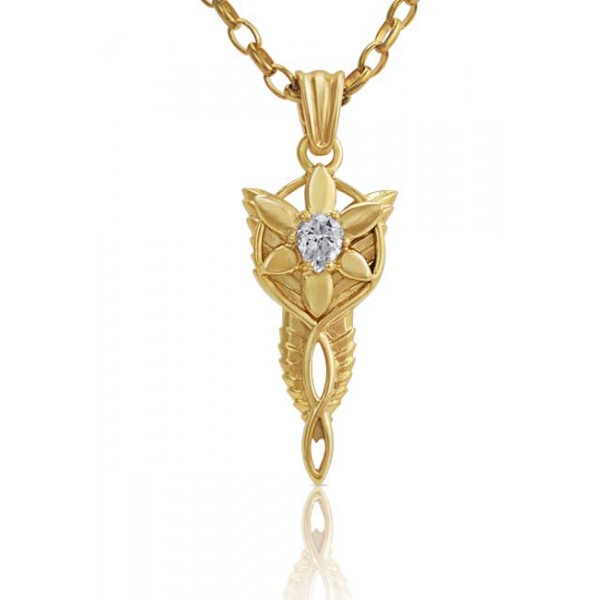 "Arwen Evenstar 9ct Gold Pendant - Lord of the Rings Ring Jewellery - The Evenstar ...and she took a white gem like a star that lay upon her breast hanging upon a silver chain..."" The Evenstar Necklace was gi"