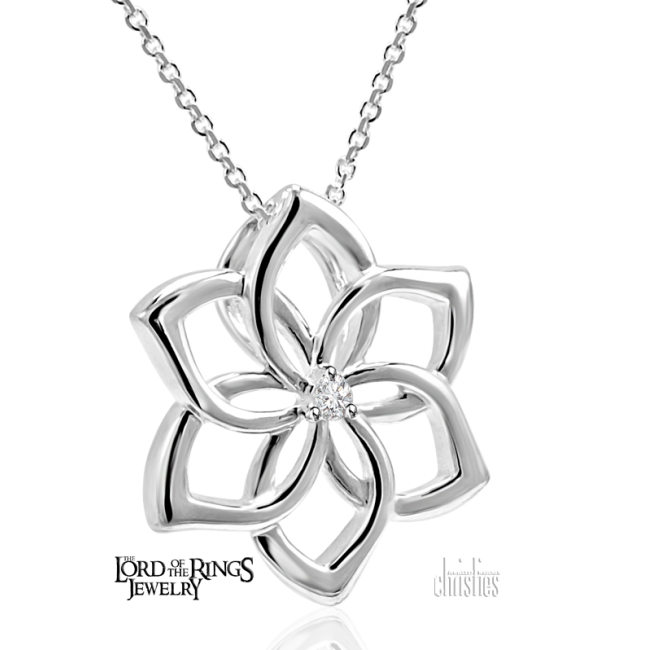 The Hobbit Galadriel Silver  Flower Pendant